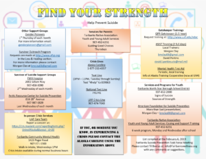 Strengths listed from the February 2019 Suicide Prevention Task Force Meeting